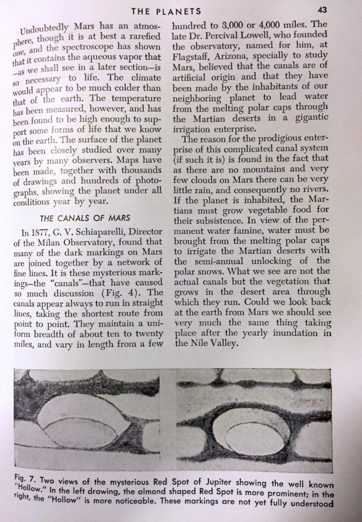 A page about Mars from the 1943 book The Marvels and Mysteries of Science